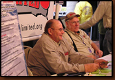 Selling banquet and raffle tickets and signing up new members at the 2009 Rapid City Sports Show are (from left to right in SDWU Shirts) Delbert Stover, Dennis Dunlap, and Denny Bohls.