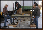 from left to right: Denny Bohls, Mike Johnson, Dan Amen, and Ken Edel working on the Dock project.
