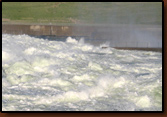 Oahe Dam during flood of 2011.