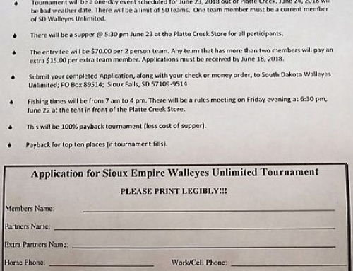 Sioux Empire SDWU Member Fishing Tournament Application – Platte Creek