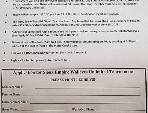 Sioux Empire SDWU Member Fishing Tournament Application – Platte Creek
